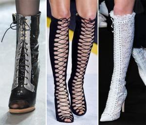 Украшенная шнуровкой обувь